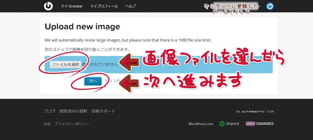 画像ファイルを選び、次に進みます。